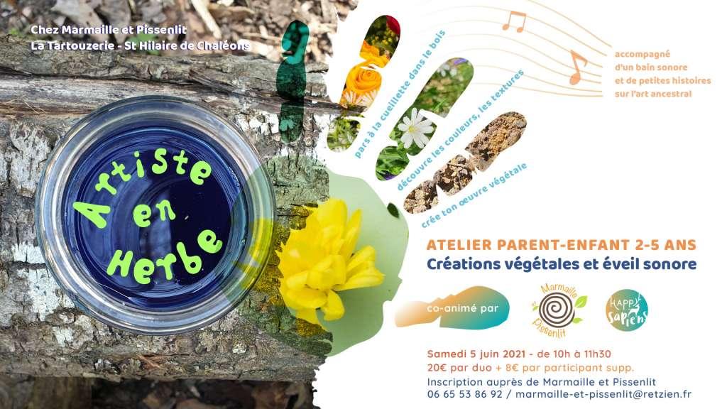 Artiste en Herbe - atelier parent-enfant co-animé par Marmaille et Pissenlit & Happy Sapiens
