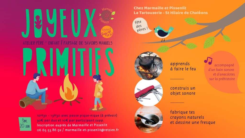 Joyeux primitifs - atelier père-enfant co-animé par Marmaille et Pissenlit & Happy Sapiens
